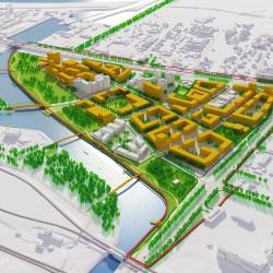 Wizualizacja urbanistyczna do planu miejscowego terenu przy ul. Morelowej w Warszawie.