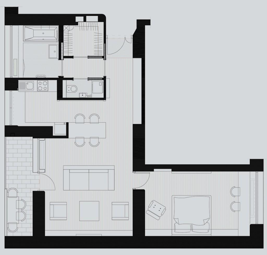 projekt wnetrza mieszkania, układ funkcjonalny