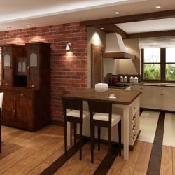 Salon z aneksem kuchennym w domu jednorodzinnym.