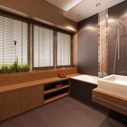 Projekt wnętrza mieszkania w kamienicy. Łazienka z oknem.
