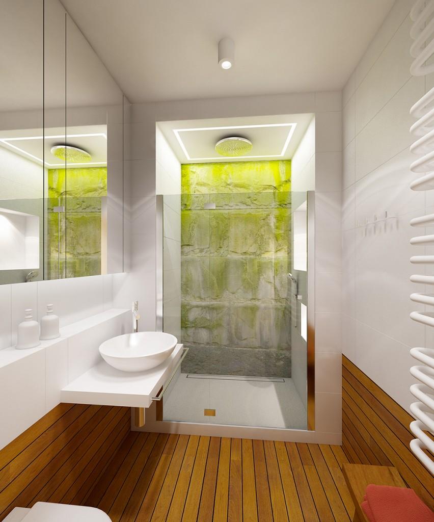aranżacja wnętrza mieszkania, łazienka deska pokładowa