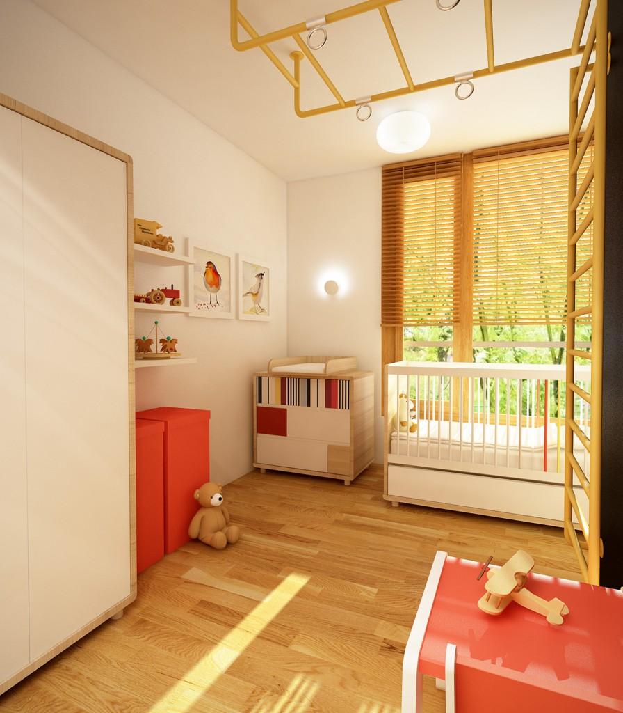aranżacja wnętrza mieszkania, pokój dziecięcy w ciepłych kolorach