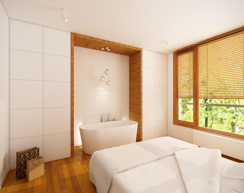 aranżacja wnętrza mieszkania, wanna wolnostojąca w sypialni