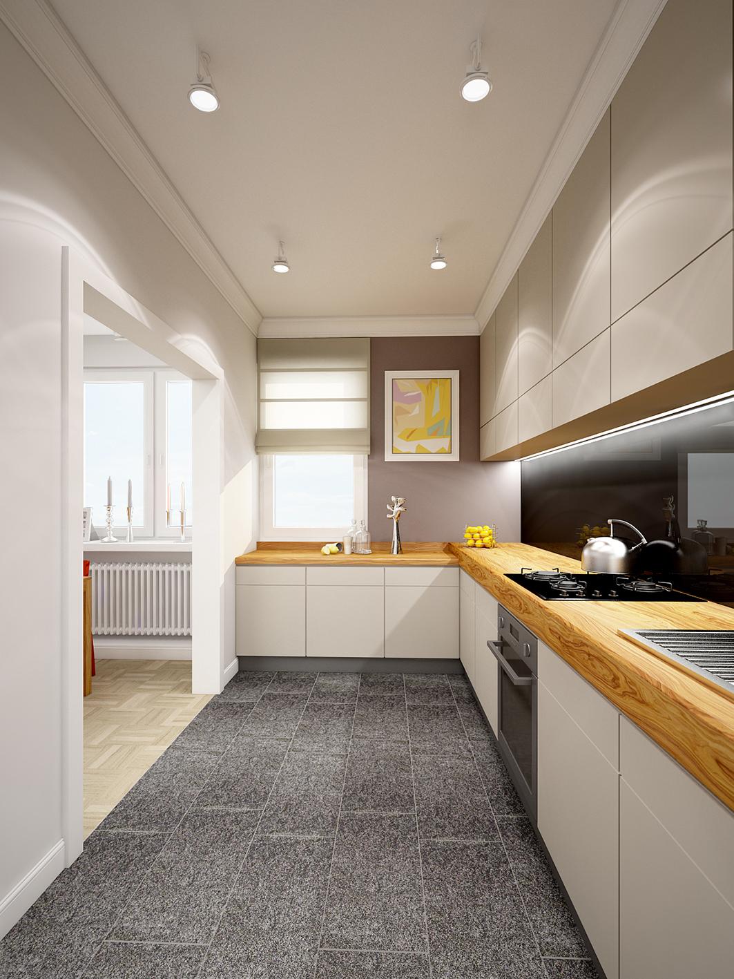 Projekt aranżacji wnętrz salon, kuchnia, sypialnia  Domsy -> Kuchnia Poddasze Salon Sypialnia
