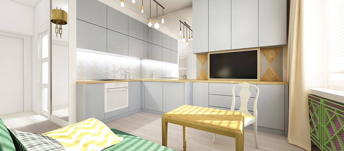 maly salon z kuchnia